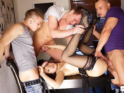 Gang-fuck porn activity for slim Taissia-Shanti
