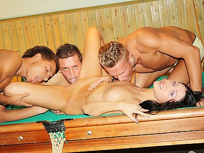 Brown-haired boned rigid on the pool table